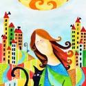 Nagyvárosi cica, Képzőművészet, Festmény, Akvarell, Illusztráció, Kispéldányszámú reprodukció (20), aláírt számozott nyomat az eredeti akvarell festményről. Mérete 15..., Meska