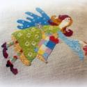 Keresztszemes minta- Városi angyal, Képzőművészet, Textil, Keresztszemes minta a saját festményem részletéből. Mérhetetlen boldogsággal, elégedettséggel tölten..., Meska