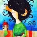 Éjkirálynő - művészi nyomat, Képzőművészet, Festmény, Akvarell, Illusztráció, Kispéldányszámú reprodukció (20), aláírt számozott nyomat az eredeti akvarell festményről. Mérete 2..., Meska