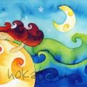 Alkonyat - művészi nyomat, Képzőművészet, Festmény, Akvarell, Illusztráció, Festészet, Kispéldányszámú reprodukció (20), aláírt számozott nyomat az eredeti akvarell festményről. Mérete ..., Meska