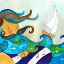 Tengerész-  művészi nyomat, Képzőművészet, Festmény, Akvarell, Illusztráció, Festészet, Kispéldányszámú művészi nyomat (20), aláírt, számozott, az eredeti akvarell festményről. Mérete 30 ..., Meska