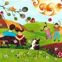 Mesés portré NEKED! Mese RÓLAD!  (óriás)- egyedi családi portré, Mindenmás, Mesés, egyedi családi portré. Az akvarell mesék tiszta vidám színekkel megálmodott történetek, amely..., Meska