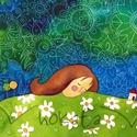 Álmodj szépet- művészi nyomat, Képzőművészet, Festmény, Akvarell, Illusztráció, Kis példányszámú reprodukció (30), aláírt számozott nyomat az eredeti akvarell festményről. Mérete15..., Meska