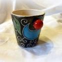 Pohár- kézzel festett kerámia- virágos