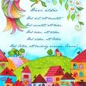 Házi áldás- A3-as méretű nyomat, Képzőművészet, Festmény, Akvarell, A3-as (29,7 x 42 cm) művészi nyomat, szignózva. 300 g -os műnyomó papíron Két A3-as vastag karton kö..., Meska