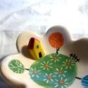 Kis gyűrűtartó tál, házikóval, Teljes értékű használati tárgy, kézzel feste...