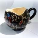 Gömbögre- virágom- kézzel festett bögre, Teljes értékű használati tárgy, kézzel feste...