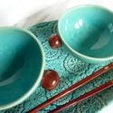 Türkiz kávés, japánteás csésze - 2 db, Konyhafelszerelés, Képzőművészet, Bögre, csésze, Teljes értékű használati tárgyak, kézzel festett egyedi darabok. 2db egyedi kerámia csésze, türkiz k..., Meska