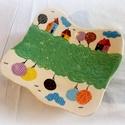 Kistányér- kézzel festett, Konyhafelszerelés, Képzőművészet, Bögre, csésze, Teljes értékű használati tárgy, kézzel festett, formázott, egyedi darab. A kerámiát a színtelen, fén..., Meska