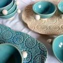 Nagy teáskészlet- türkiz és krém színben, Teljes értékű használati tárgyak, kézzel fes...
