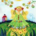 Tavasztündér- A3-as méretű nyomat, Képzőművészet, Festmény, Akvarell, A3-as (29,7 x 42 cm) művészi nyomat, szignózva. 300 g -os műnyomó papíron Két A3-as vastag karton kö..., Meska
