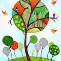 Zengő erdő- A3-as méretű nyomat, Képzőművészet, Festmény, Akvarell, A3-as (29,7 x 42 cm) művészi nyomat, szignózva. 300 g -os műnyomó papíron Két A3-as vastag karton kö..., Meska