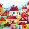 Házak - A3-as méretű nyomat, Képzőművészet, Festmény, Akvarell, A3-as (29,7 x 42 cm) művészi nyomat, szignózva. 300 g -os műnyomó papíron Két A3-as vastag karton kö..., Meska