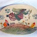 Sütis tányér- angyalos, Konyhafelszerelés, Képzőművészet, Bögre, csésze, Teljes értékű használati tárgy, kézzel formázott, festett egyedi darab. A színtelen, fényes máz alat..., Meska