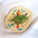 Sütis tányér- Mini univerzum, Konyhafelszerelés, Képzőművészet, Bögre, csésze, Teljes értékű használati tárgy, kézzel formázott, festett egyedi darab. A színtelen, fényes máz alat..., Meska