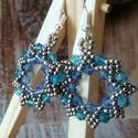 Kék csillogás fülbevaló, Ékszer, Szerelmeseknek, Fülbevaló, Nagyon szép mintájú, kétféle színű kék kristályos bicone csillogás, nickel kásagyöngyökkel keretezve..., Meska