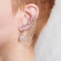 Mézopál ezüst drótozott fülgyűrű, Ékszer, Fülbevaló, Piercing, testékszer, Ötvös, Ékszerkészítés, Valódi ásványokból és ezüstözött drótból készült fülgyűrű.   Hossz: kb. 42mm A bal fülre készült.  ..., Meska