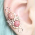 Rodokrozit ásványos ezüst drótozott fülgyűrű, Ékszer, Fülbevaló, Piercing, testékszer, Ötvös, Ékszerkészítés, Rodokrozit ásványokból és ezüstözött drótból készült fülgyűrű.   Hossz: kb. 28mm  A fülgyűrűk visel..., Meska