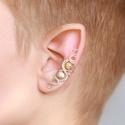 Mézopál ásványos ezüst drótozott fülgyűrű, Ékszer, Fülbevaló, Piercing, testékszer, Ötvös, Ékszerkészítés, Valódi mézopál ásványokból és ezüstözött drótból készült fülgyűrű.   Hossz: kb. 40mm  A fülgyűrűk v..., Meska