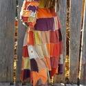 Kockás hippi-szoknya táskával, Ruha, divat, cipő, Táska, Női ruha, Szoknya, Ez a szoknya is textil újrahasznosítással készült, sok-sok kordbársony négyzetből, ahogyan a..., Meska