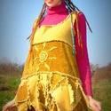 Hippi tunika, Ruha, divat, cipő, Női ruha, Ruha, Bársony anyagból, textil újrahasznosítással  készítettem ezt a rövid kis ruhácskát, elől ..., Meska