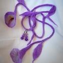 Lila liliom nemez ékszerszett (fülbevaló + hajbavaló + karkötő), Ruha, divat, cipő, Ékszer, Hajbavaló, Ékszerszett, Nemez hajbavaló +karkötő + fülbevaló., Meska