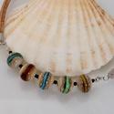Színes lámpagyöngy nyaklánc, üvegékszer, Ékszer, Ruha, divat, cipő, Nyaklánc, Lámpagyöngy technikával készítettem ezt a nyakláncot.  Különleges portugál parafával kombináltam. Ho..., Meska