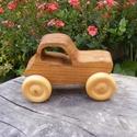 Játék fatraktor, fakocsi, Játék, Fajáték, Tölgyfából készült traktor. Mérete:12x8x6cm, Meska