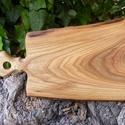 fa  vágódeszka, lapító, Konyhafelszerelés, Vágódeszka, Famegmunkálás, Egy darab keményfából / szilfa/ készült  vágódeszka. Mérete: 34x21x2cm   , Meska