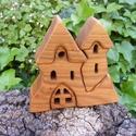 Fa házikó, fa vár, fa építő, Játék, Fajáték, Készségfejlesztő játék, Cseresznyefából készült, szétszedhető gyerekjáték, vagy  szobadísz. Színtelen olajjal keze..., Meska