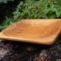 Fa tál, fatál, fa tálaló, Konyhafelszerelés, Vágódeszka, Egy darab keményfából /cseresznyefa/ készült  fa tál. Nem ragasztott, nagyon tartós.  Mérete..., Meska
