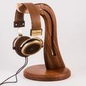 Fejhallgató tartó, Férfiaknak, Otthon, lakberendezés, Tárolóeszköz, Szilfából készült fejhallgató tartó. Mérete:28x18cm     , Meska