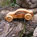 Játék fa autó, fakocsi, bogárhátú, Játék, Fajáték, Cseresznyefából készült fajáték, színtelen olajjal kezelve, Nincs színezve, a fának a természetes sz..., Meska