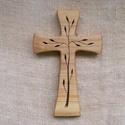 Mintás fakereszt , Mindenmás, Vallási tárgyak, Juharfából készült, falra akasztható kereszt. Lombfűrésszel átvágott minta. Mérete:19x12x2cm..., Meska