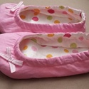 rózsaszín színes pöttyös tutyi, Baba-mama-gyerek, Ruha, divat, cipő, Cipő, papucs, Mi sem jobb annál, mikor hazaérünk és az otthoni dolgainkba ugorhatunk, pl. egy kedvenc tutyiba, ami..., Meska