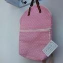Bőrfüles hátizsák - pöttyös, Táska, Divat & Szépség, Táska, Hátizsák, Praktikus 2in1 táska, kézitáska vagy hátizsák.   Pasztel rózsaszín és fehér pöttyös hátizsák, elöl z..., Meska