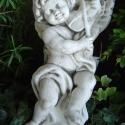 Nagy muzsikáló angyal , Otthon, lakberendezés, Mindenmás, Kerti dísz, Ajtódísz, kopogtató, Nagyméretű, falra akasztható, fehér színű, hegedülő angyal. Anyaga: szobrászati gipsz. Mérete: 30 x ..., Meska