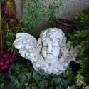 Nagy szárnyas angyal, Dekoráció, Esküvő, Otthon, lakberendezés, Ünnepi dekoráció, Antikolt, szobrászati gipszből készült angyal. Hátulján akasztóval.  Méret: 30 x 16 cm. Több, mint..., Meska