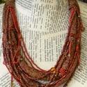 Ünnep, Ékszer, Nyaklánc, A nyakék 2 rusztikus texturájú,  vöröses  barnás szinhangulatú textil cső felhasználásával készült, ..., Meska