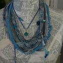 Tengerkincsei, Ékszer, Nyaklánc, A nyakék 6 textil szalagból áll, melyekhez kapcsolódnak a különböző kék színű ,zsinórokr..., Meska