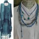 Tengerkincsei, Ékszer, Nyaklánc, A nyakék  textil  és horgolt szalagból áll, melyekhez kapcsolódnak a különböző kék színű..., Meska
