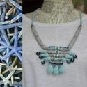 Nagykékség, Ékszer, Nyaklánc, A nyaklánc sokféle kék színárnyalat és szürke felhasználásával készült Hengerekből áll, melyeknek a ..., Meska