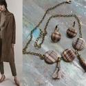 Őszi kockás, Ékszer, Ékszerszett, Az idei évben rengetegféle kockás a divat, ehhez készítettem az őszi barnás színekkel egy sz..., Meska