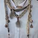 Őszi mix, Ékszer, Nyaklánc, Többféle textil csík, zsinór felhasználásával készült , melyekről változatos gyöngyök, ..., Meska