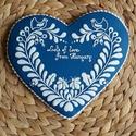 Kékfestő  - mézeskalács köszönőajándék magyaros mintával, 18×18 cm-es , Képzőművészet, Magyar motívumokkal, Mézeskalácssütés, 18×18 cm-es mézeskalács köszönőajándék, magyaros - kékfestő mintával. Bármilyen, egyedi felirattal ..., Meska