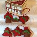 Piros-barna karácsonyfa díszek, dobozban, Dekoráció, Karácsonyi, adventi apróságok, Karácsonyfadísz, Ünnepi dekoráció, Varrás, Papírművészet,   A Piros szín kedvelőinek készítettem ezt a csomagot. Barna filc alapra, ami mézeskalács jelleget ..., Meska