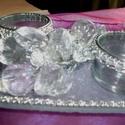 Ezüst-üveg karácsonyi asztaldísz, Dekoráció, Ünnepi dekoráció, Asztaldísz, Karácsonyi, adventi apróságok, Virágkötés, Ezüst díszítéses üvegtálra készítettem ezt az asztaldíszt.  Készítése közben eszembe ötlött, hogy n..., Meska