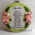Házi áldás- himzőrámában-filc virágokkal, Dekoráció, Otthon, lakberendezés, Kép, Falikép, Filc Házi áldás alappal, filc virágokkal díszített fali dísz.....  A virágok saját tervezé..., Meska