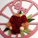 Hope- filc rózsákkal, Dekoráció, Otthon, lakberendezés, Ajtódísz, kopogtató, Csodaszép gyapjúfilc virágokkal díszített ajtódísz.  A virágok kézzel készültek, saját t..., Meska