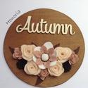 Ősz/ Autumn (2.)-AJTÓDÍSZ-filcvirágokkal, Dekoráció, Otthon, lakberendezés, Ajtódísz, kopogtató, Csodaszép gyapjúfilc virágokkal díszített ajtódísz.  A virágok kézzel készültek, saját tervek alapjá..., Meska